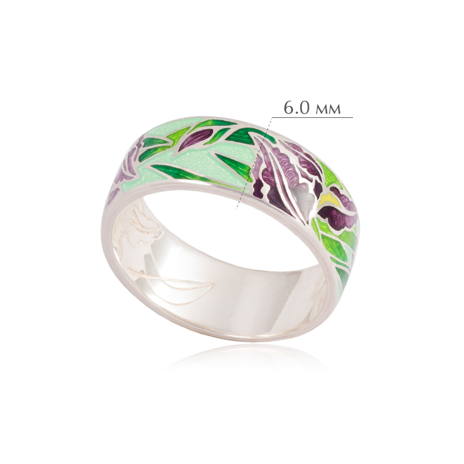 irisy 2 - Кольцо из серебра «Ирисы», зеленое