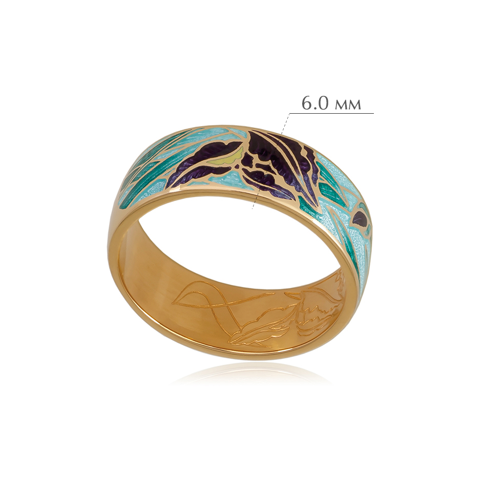 irisy 3 - Кольцо из серебра «Ирисы» (золочение), морская волна