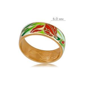 irisy 4 300x300 - Кольцо из серебра «Ирисы» (золочение), красное