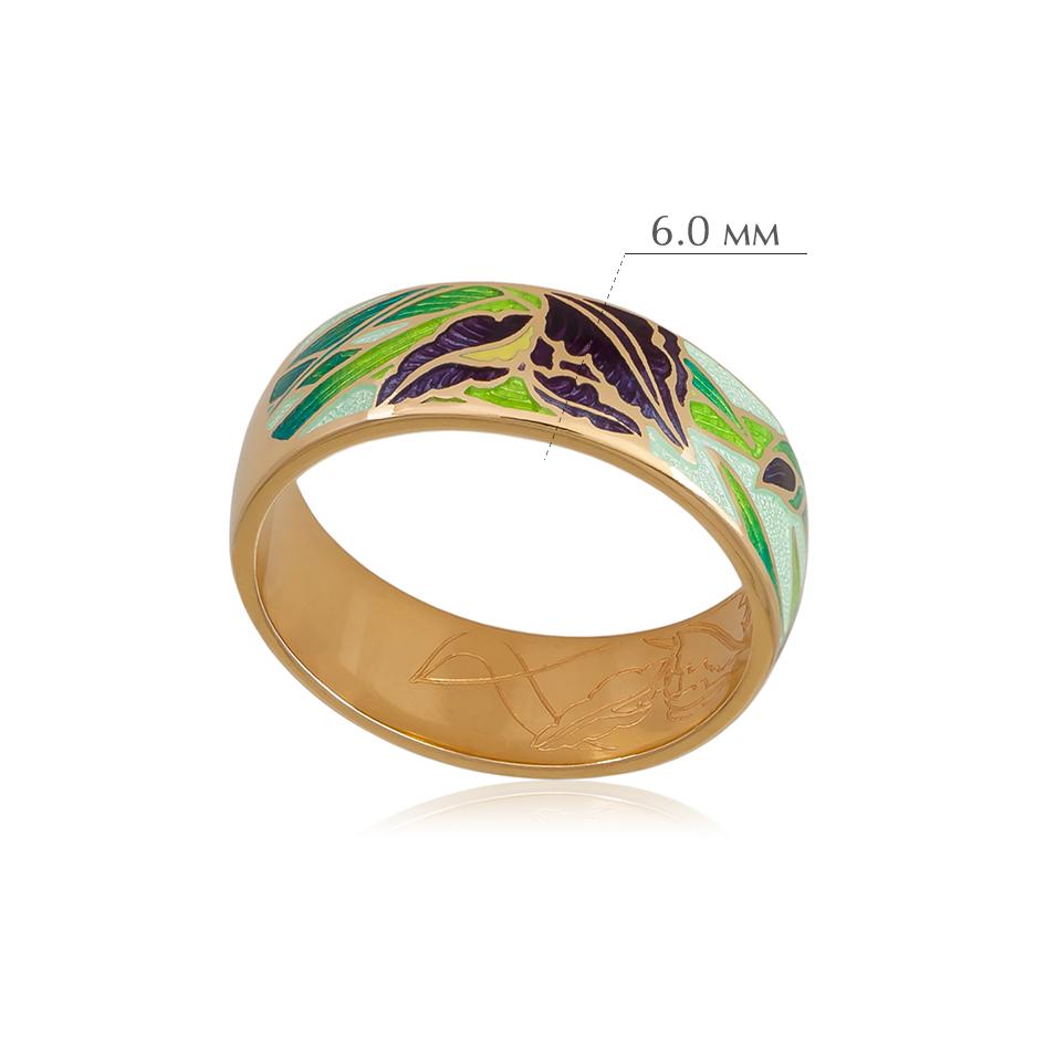 irisy 6 - Кольцо из серебра «Ирисы» (золочение), зеленое