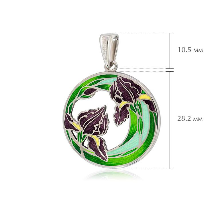 irisy razmery 4 - Подвеска из серебра «Ирисы», зеленая