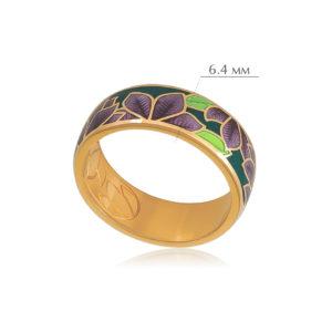 klematis 1 300x300 - Кольцо из серебра «Клематис» (золочение), фиолетово-зеленое