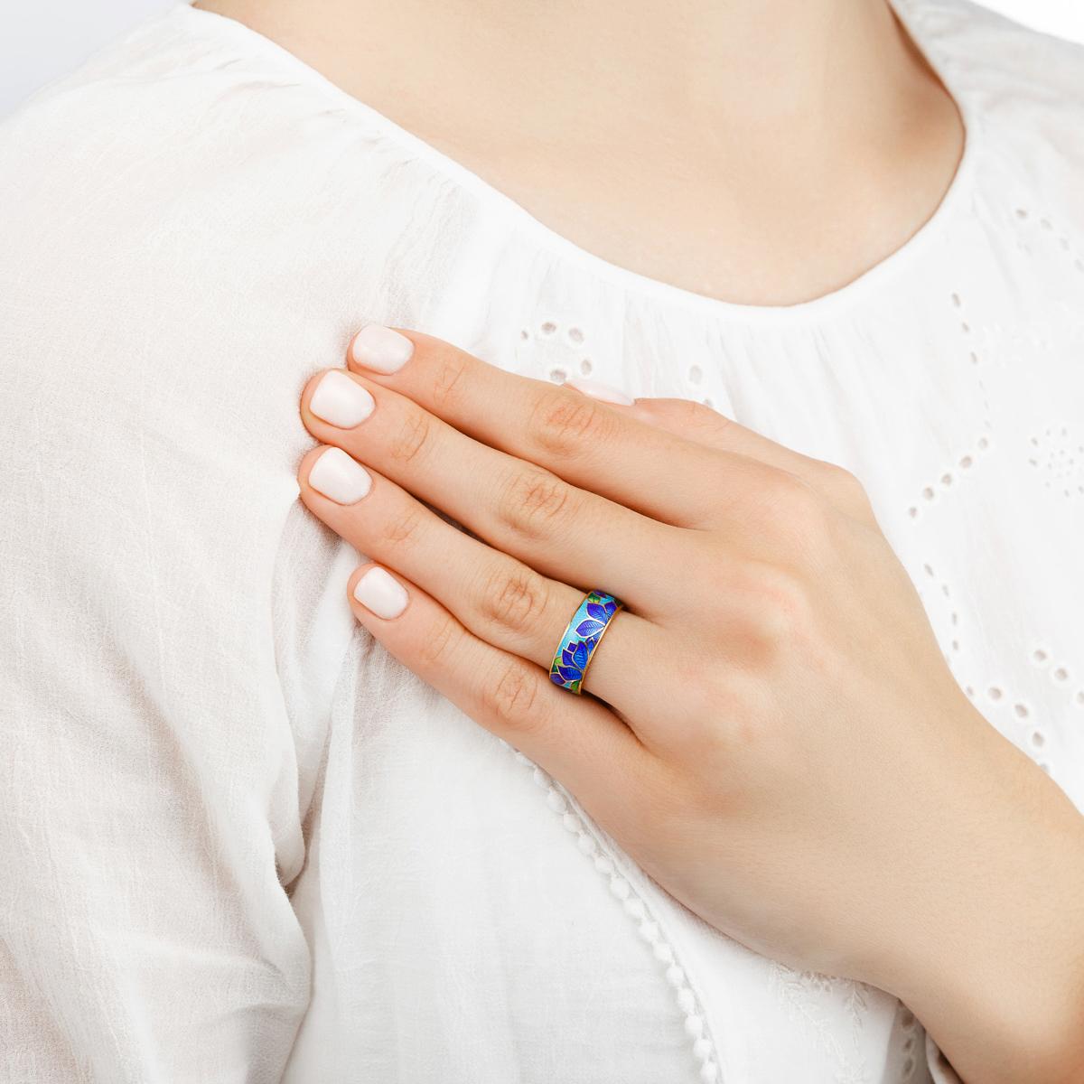 klematis zolochenie sine goluboe - Кольцо из серебра «Клематис» (золочение), сине-голубое