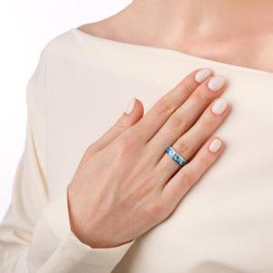 kolczo meandr 6.65 sinyaya 300x300 - Кольцо из серебра «Меандр», синяя