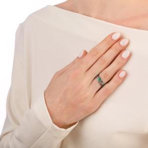 kolczo petuniya 6.04 fioletovaya 300x300 - Кольцо из серебра «Петуния», фиолетовое