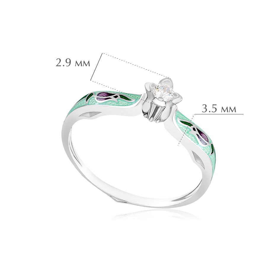 kolczo primavera 3 - Перстень серебряный «Примавера», мятный с фианитами