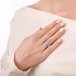 kolczo sady semiramidy 6.99 rozovaya 300x300 - Кольцо из серебра «Сады Семирамиды», розовое с фианитами