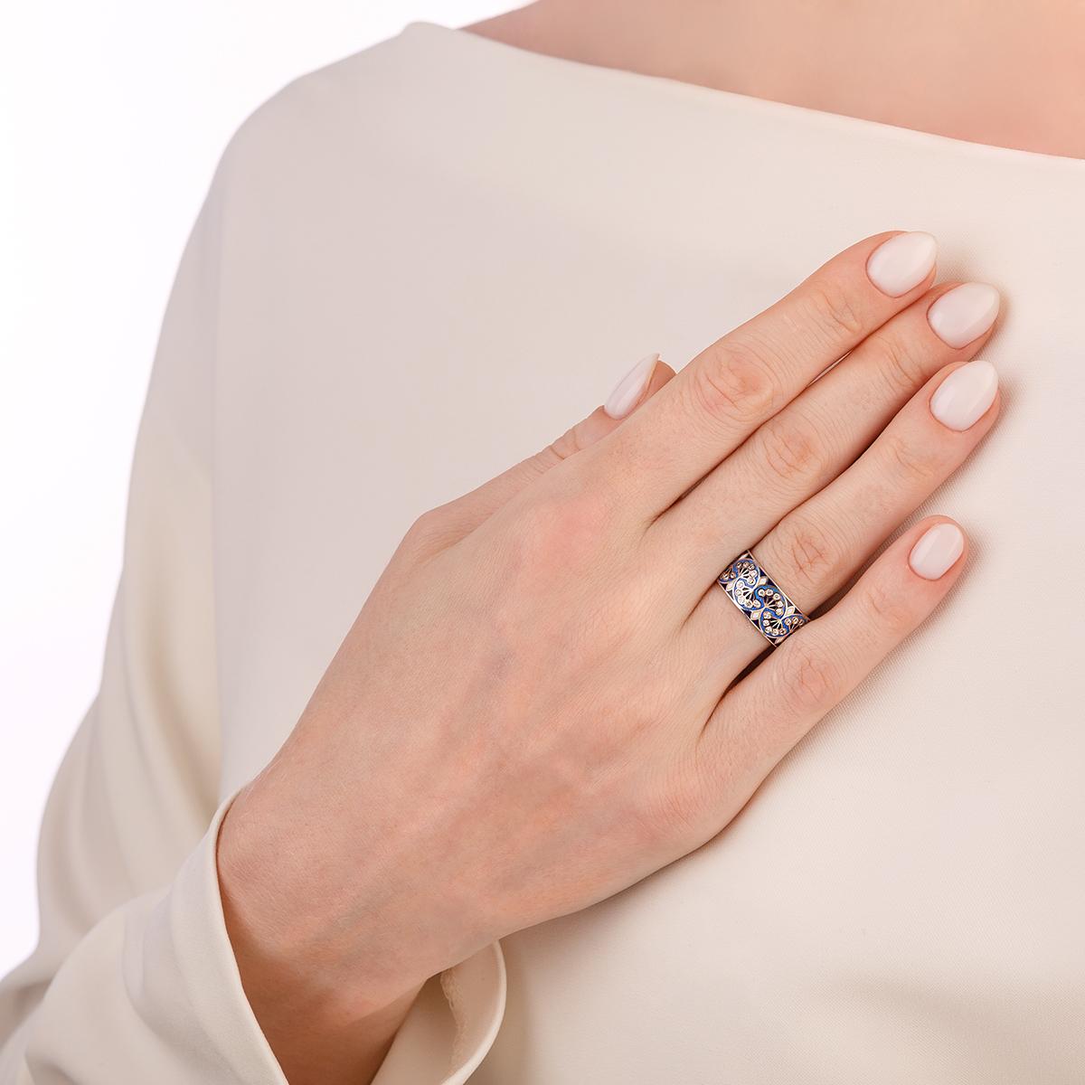 kolczo sady semiramidy 6.99 sinyaya - Кольцо из серебра «Сады Семирамиды», синее с фианитами