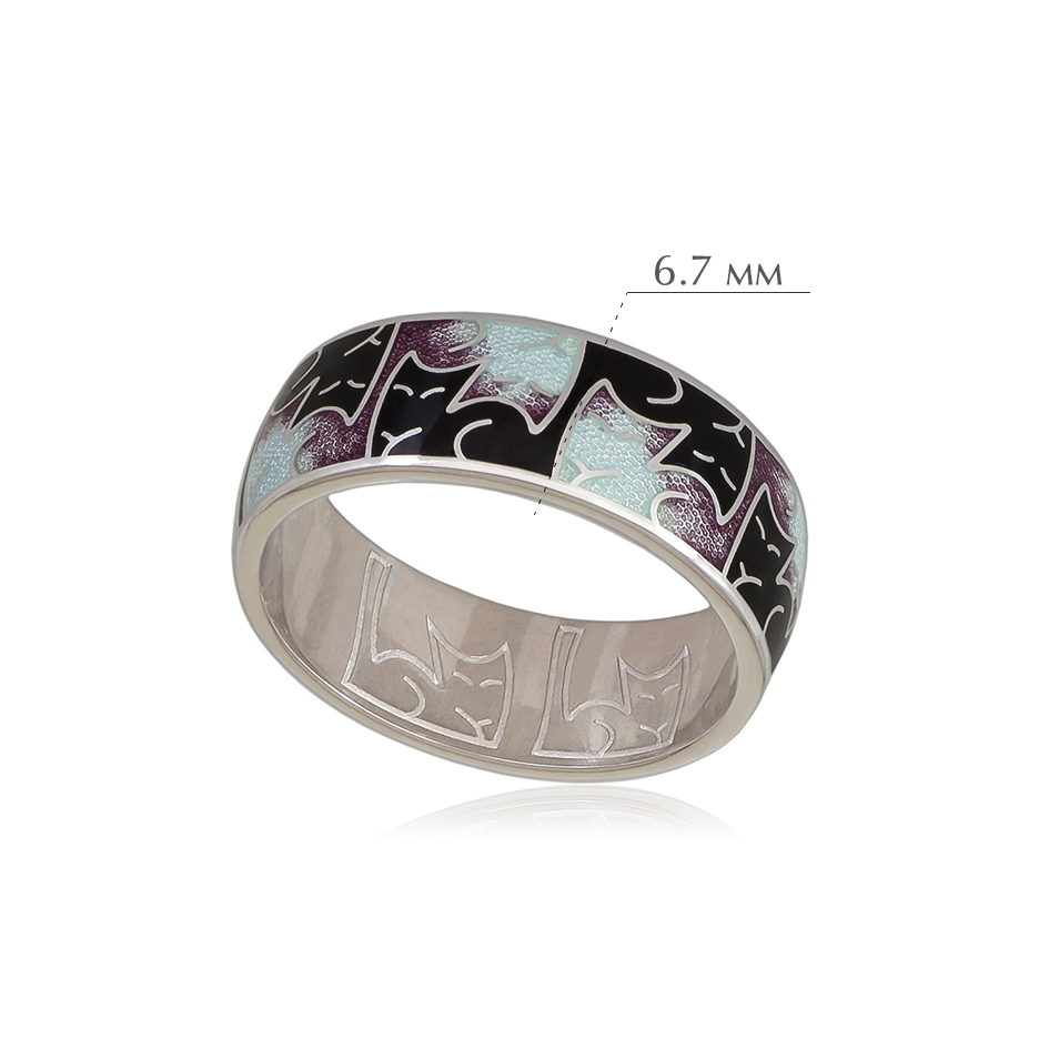 kotiki 1 1 - Кольцо из серебра «Котики Инь-Ян», фиолетовая