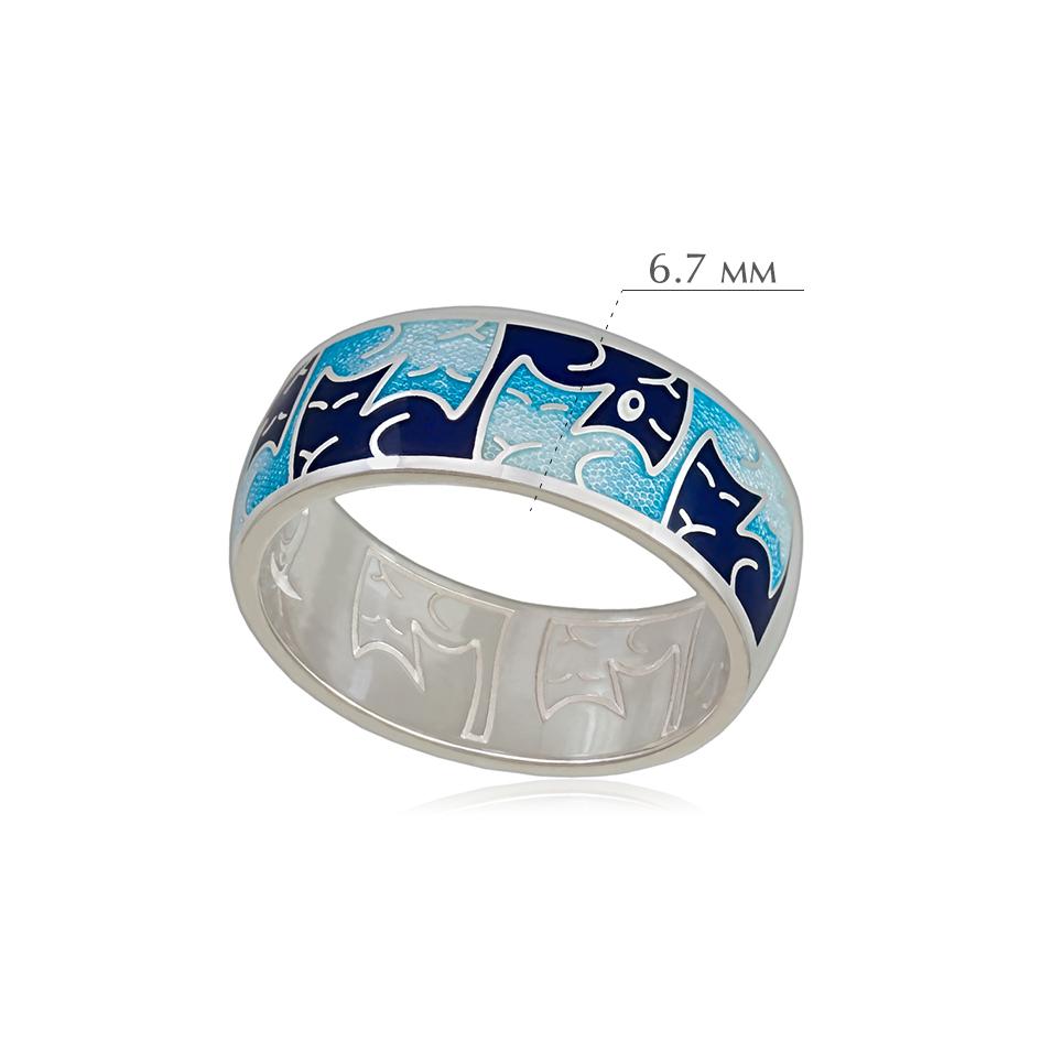 kotiki 2 - Кольцо из серебра «Котики Инь-Ян», синее