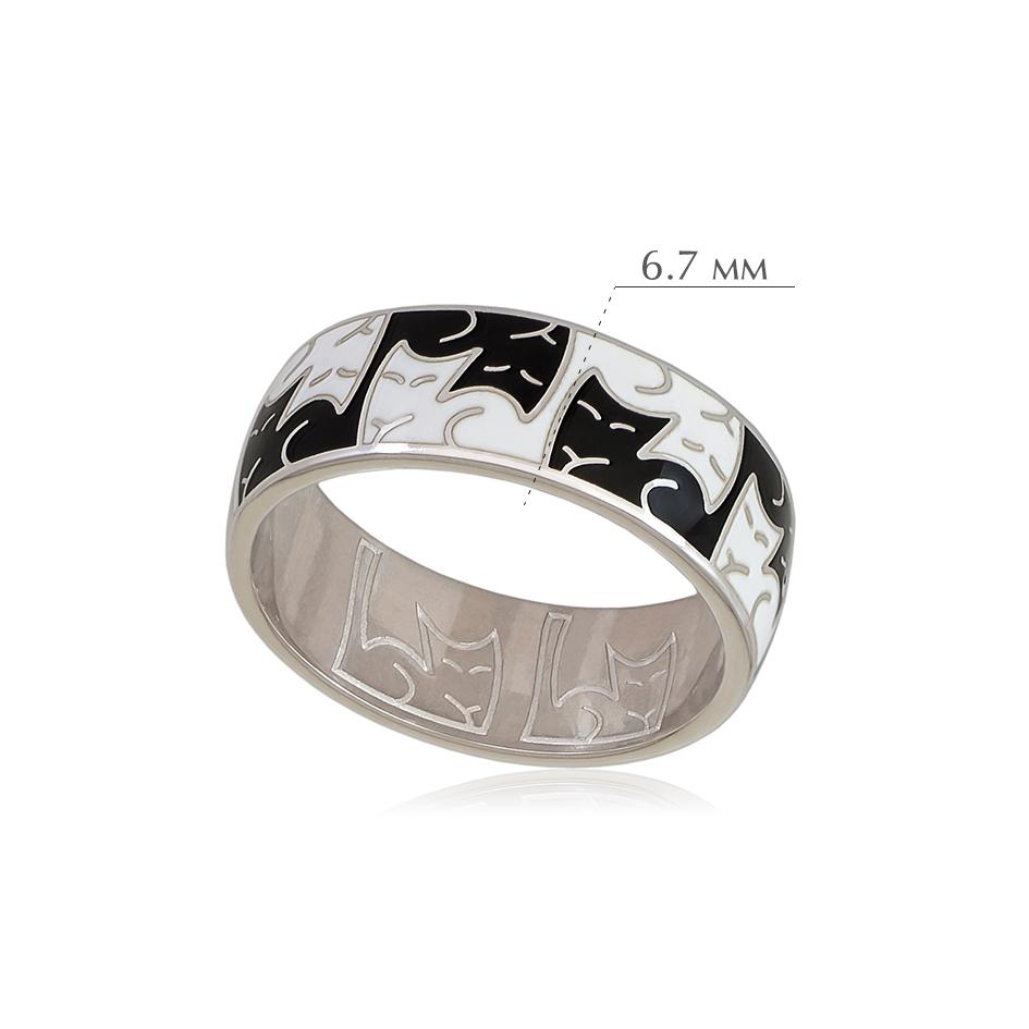 kotiki 3 - Кольцо из серебра «Котики Инь-Ян», черно-белое