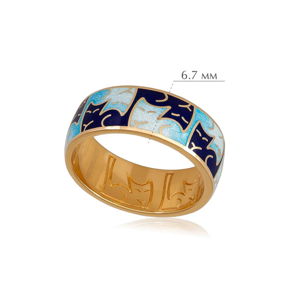 kotiki 6 - Кольцо из серебра «Котики Инь-Ян» (золочение), синее