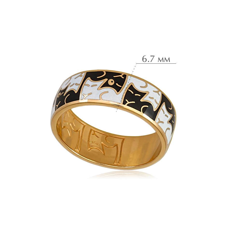 kotiki 7 - Кольцо из серебра «Котики Инь-Ян» (золочение), черно-белое