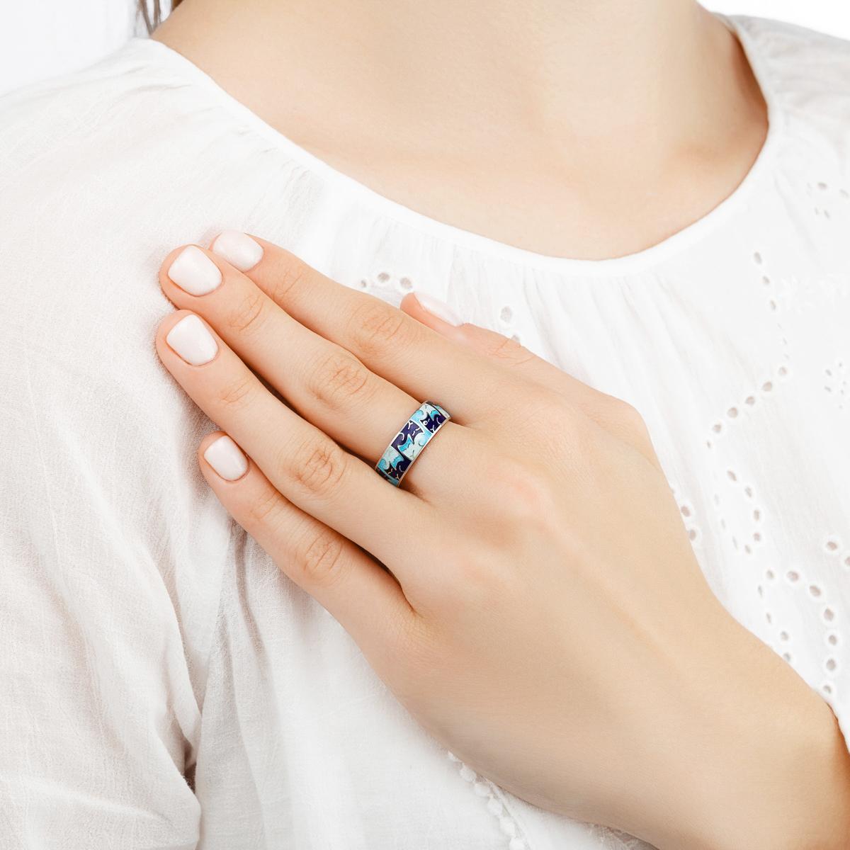 kotiki in yan serebro sinyaya - Кольцо из серебра «Котики Инь-Ян», синее
