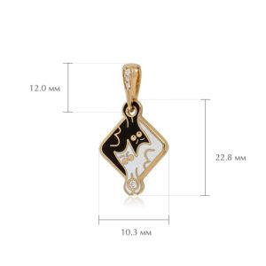 koty razmery 4 300x300 - Серебряная подвеска «Котики Инь-Ян» (золочение), черно-белая с фианитами