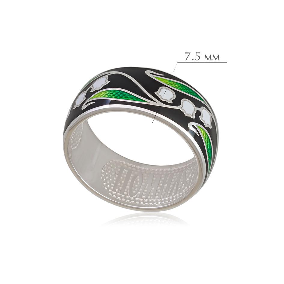 landyshi 2 - Кольцо из серебра «Ландыши», черное