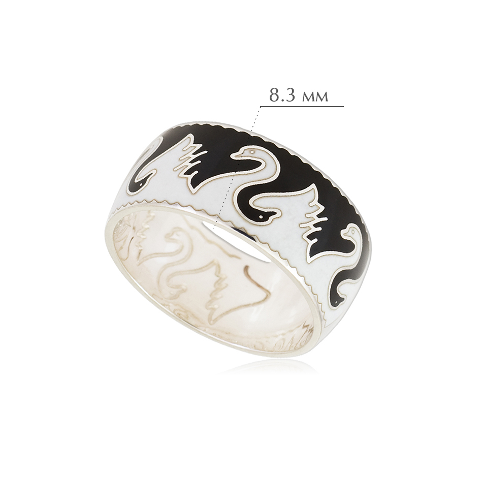 lebedi - Кольцо из серебра «Лебеди», черно-белое