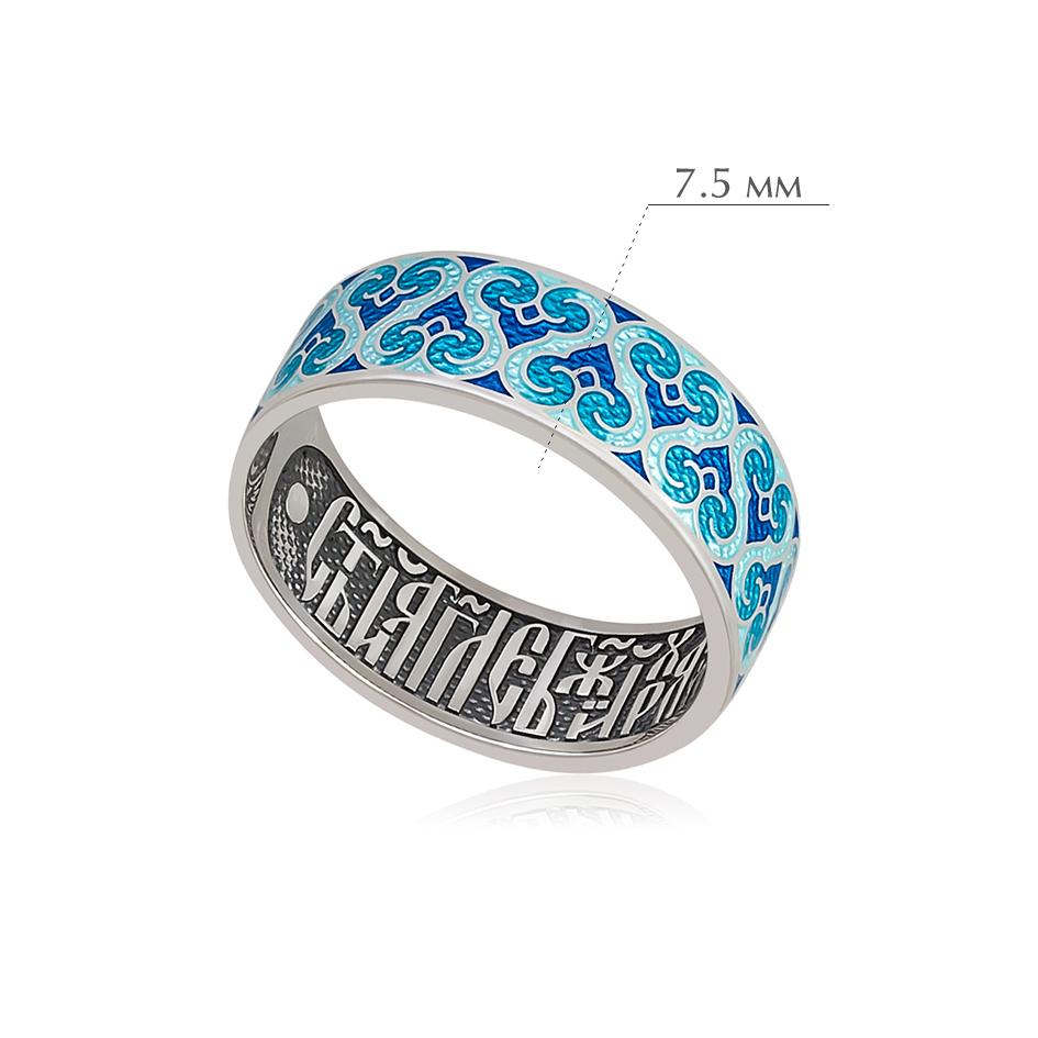 molitva angelu 3 - Кольцо из серебра «Молитва ангелу», синяя