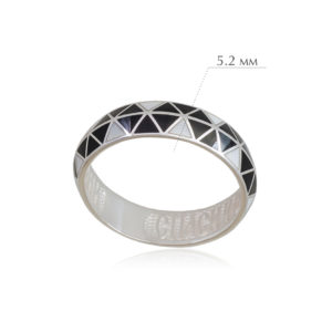 otrazhenie 4 300x300 - Кольцо из серебра «Отражение», черно-белая