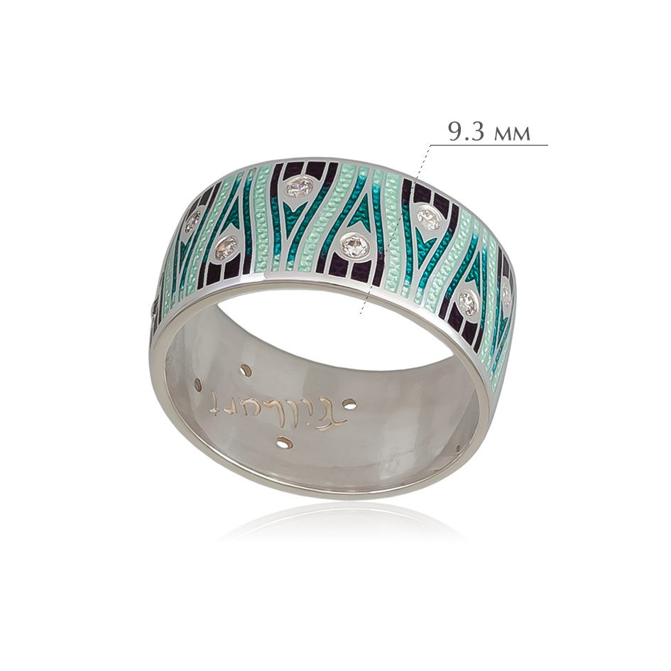 pero 1 - Кольцо из серебра «Модерн. Перо павлина», зеленая с фианитами