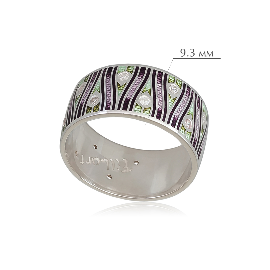 pero 2 - Кольцо из серебра «Модерн. Перо павлина», фиолетовое с фианитами