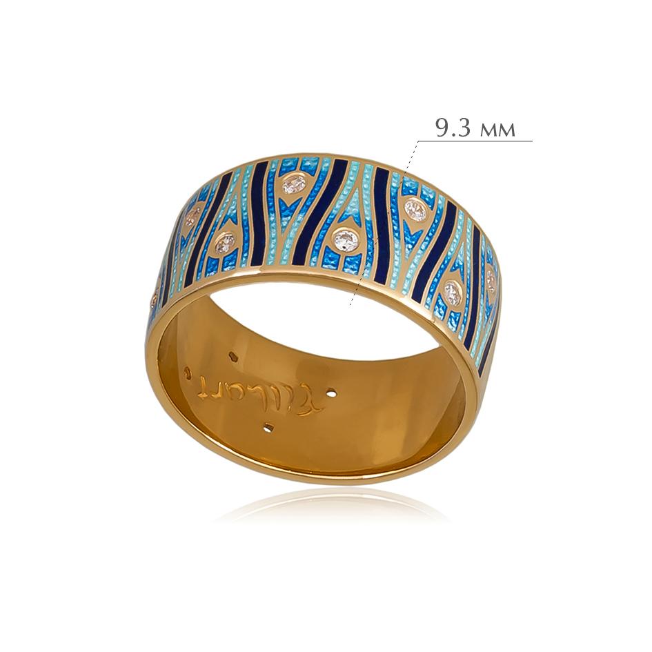 pero8 - Кольцо из серебра «Модерн. Перо павлина» (золочение), синее с фианитами