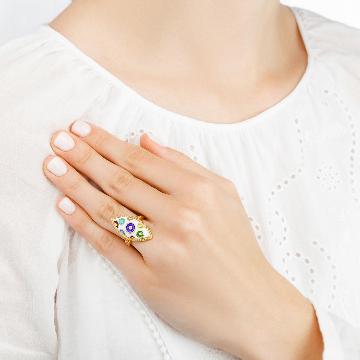 persten pugovki zolochenie - Перстень серебряный «Пуговки» (золочение) с фианитами