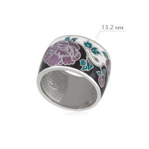 pion fioletovaya 300x300 - Кольцо из серебра из серии Веера «Пион», черно-белое