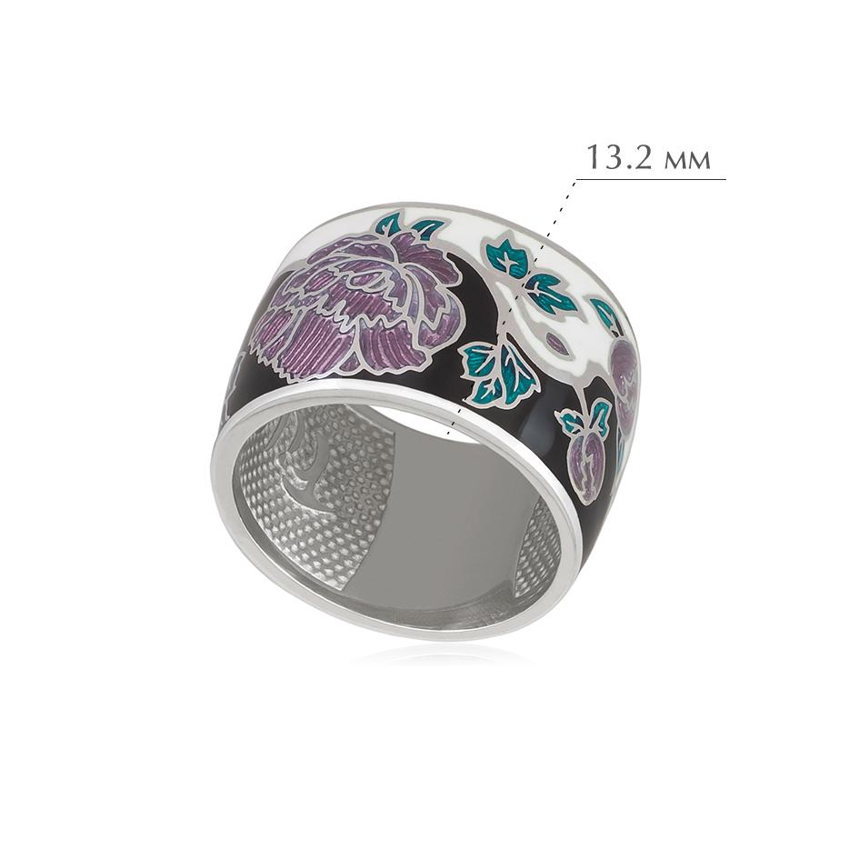 pion fioletovaya - Кольцо из серебра из серии Веера «Пион», черно-белое