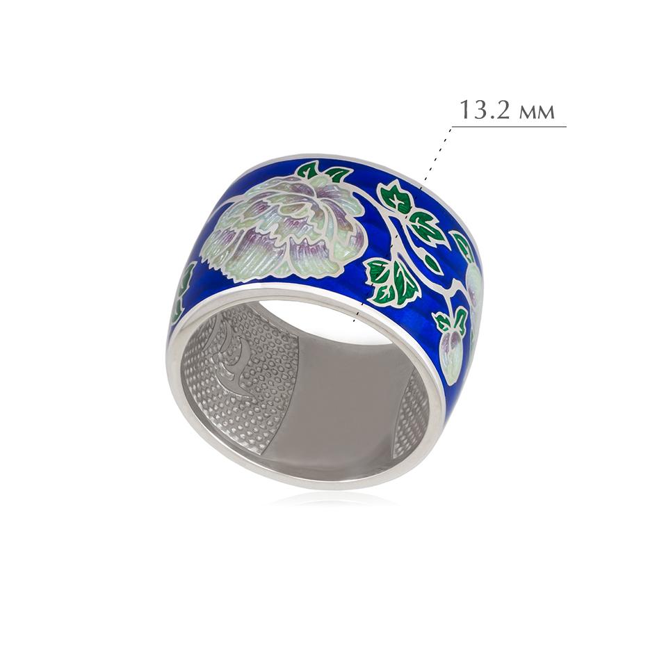 pion sinyaya - Кольцо из серебра из серии Веера «Пион», синяя