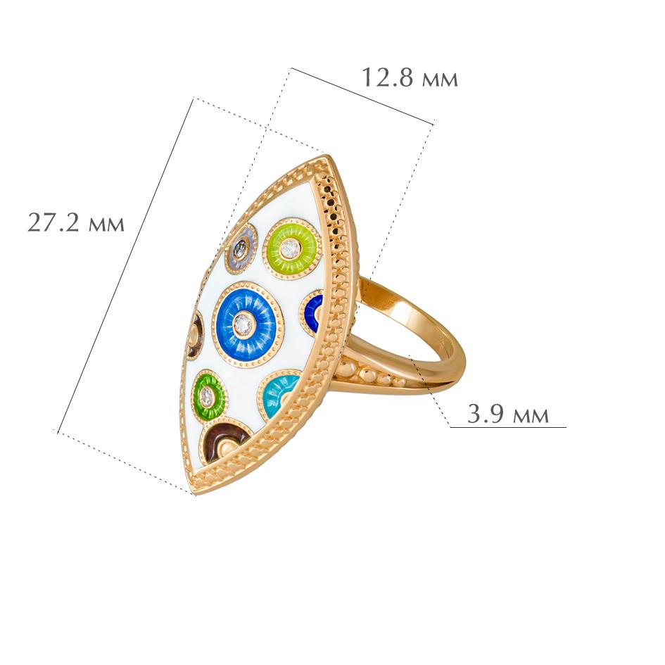 pugovki - Перстень серебряный «Пуговки» (золочение) с фианитами