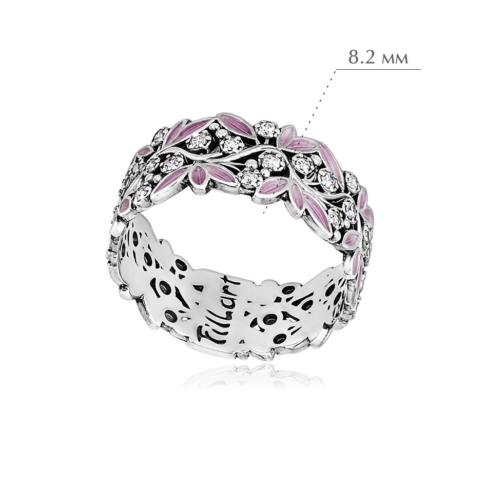 rosinka rozovaya 1 - Кольцо из серебра «Росинка», розовое с фианитами