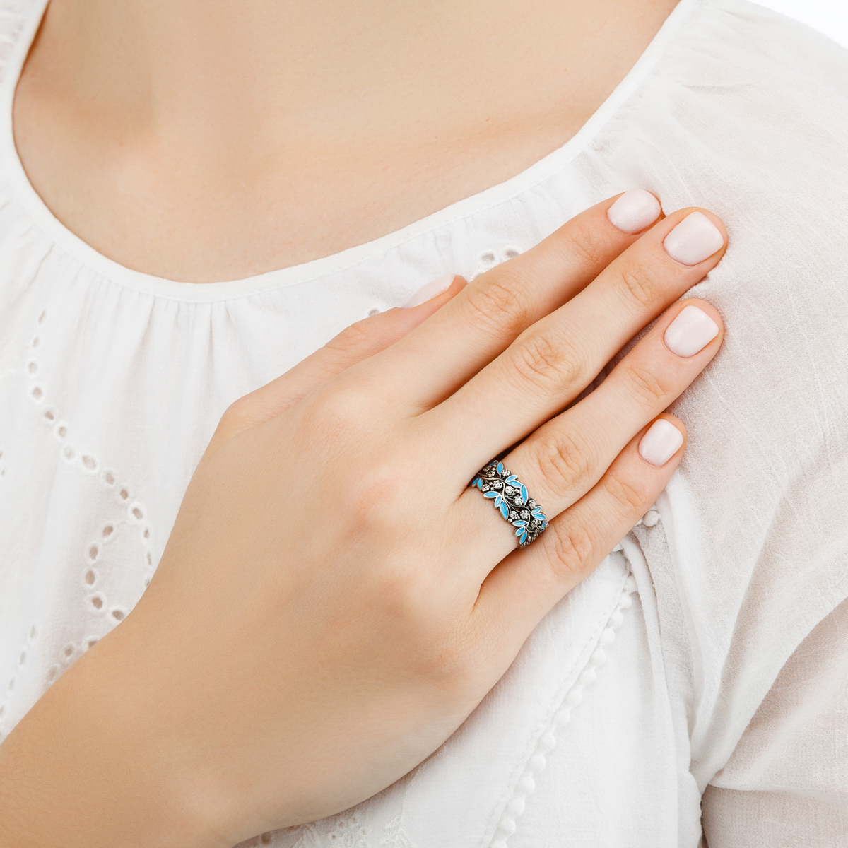 rosinka golubaya - Кольцо из серебра «Росинка», голубое с фианитами