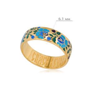 rozy 3 300x300 - Кольцо из серебра «Розы» (золочение), синее