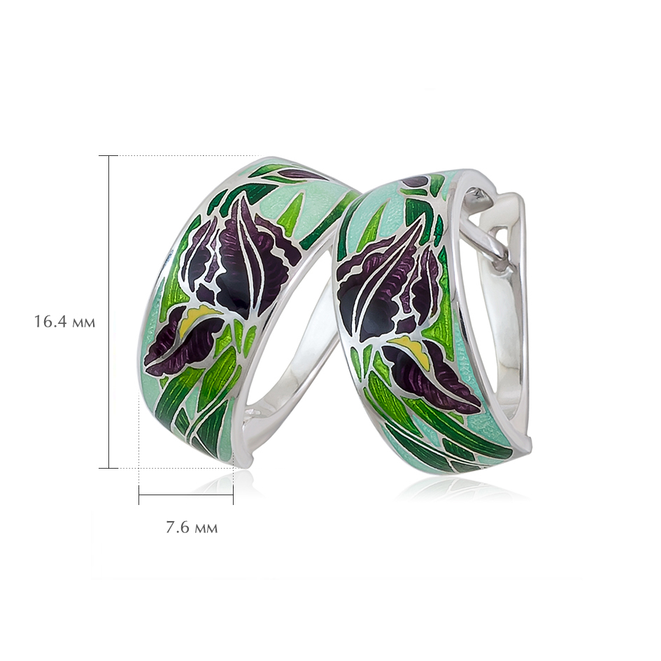 sergi irisy zel - Серьги-полукольца из серебра «Ирисы», зеленые