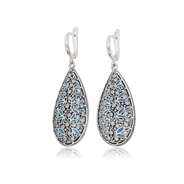 sergi podveski rosinka kapli goluboj 1 600x600 - Серьги-подвески серебряные «Росинка», голубые