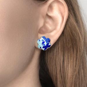 tetra sinyaya 300x300 - Пуссеты серебряные «Тетра», синие
