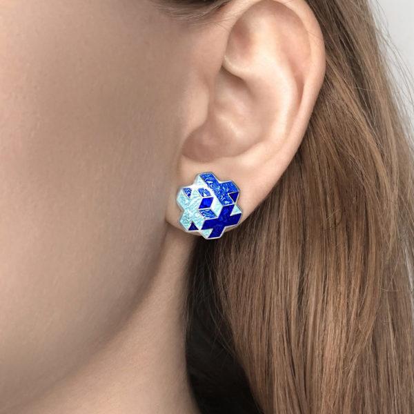 tetra sinyaya 600x600 - Пуссеты серебряные «Тетра», синие