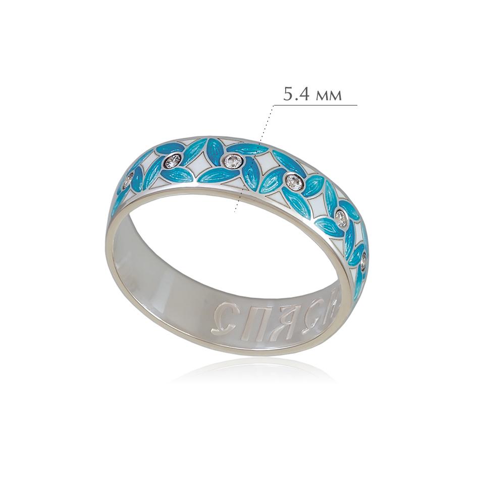veterok 1 - Кольцо из серебра «Ветерок», голубое с фианитами