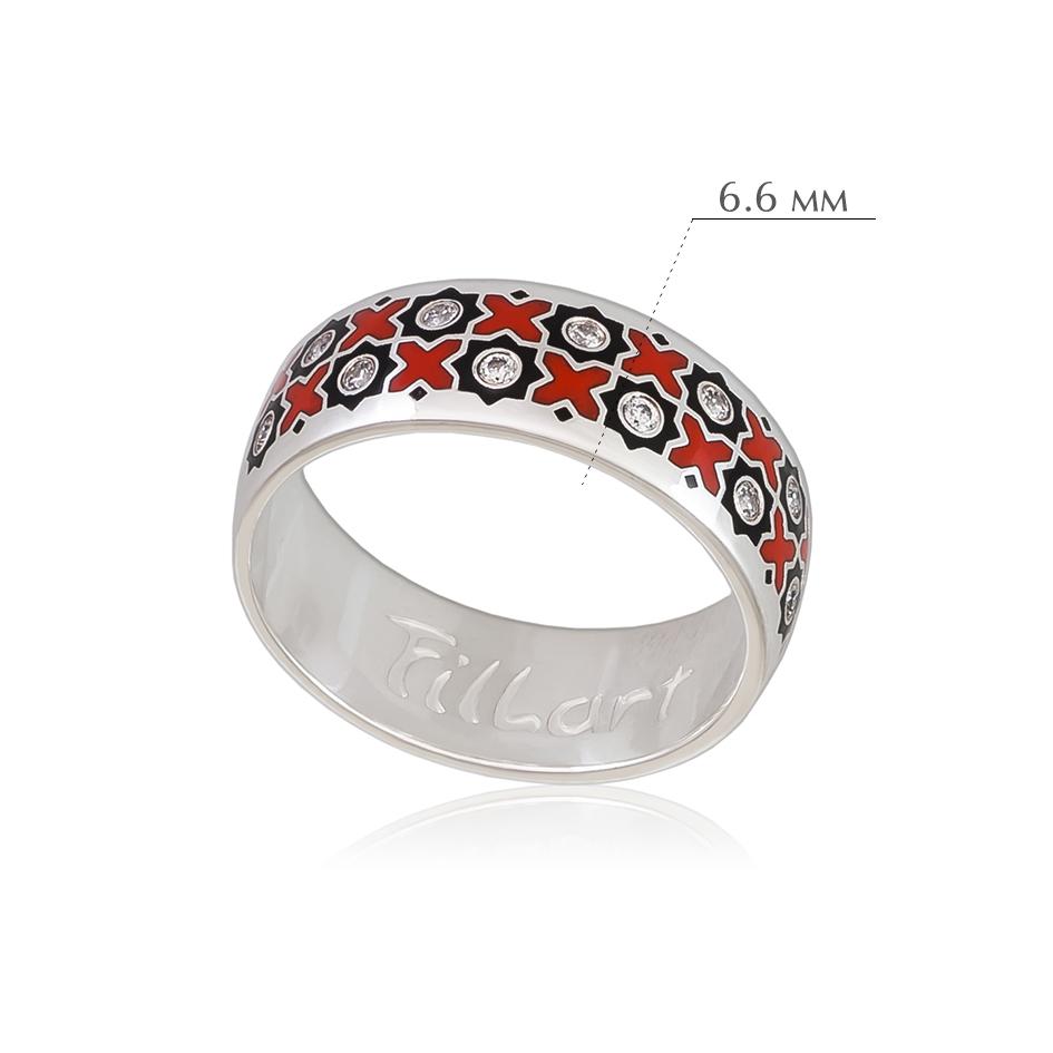 vostochnoe 3 - Кольцо из серебра «Восточное», черно-красная с фианитами