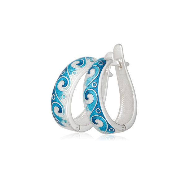 3 46 1s 3 1 600x600 - Серьги-полукольца из серебра «Меандр», синие