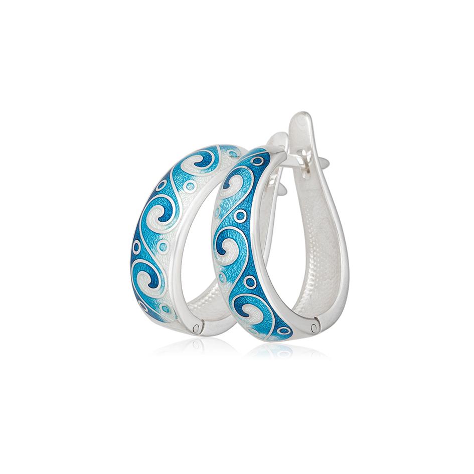 3 46 1s 3 1 - Серьги-полукольца из серебра «Меандр», синие