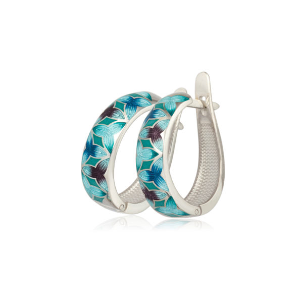 3 91 2z 1 600x600 - Серьги-полукольца из серебра «Трилистник», голубые