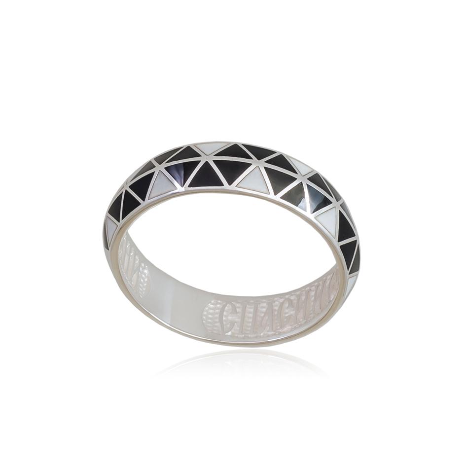 61 129 2s 1 - Кольцо из серебра «Отражение», черно-белая