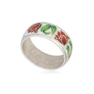 61 136 3s 1 300x300 - Кольцо из серебра «Тюльпаны», красно-белое