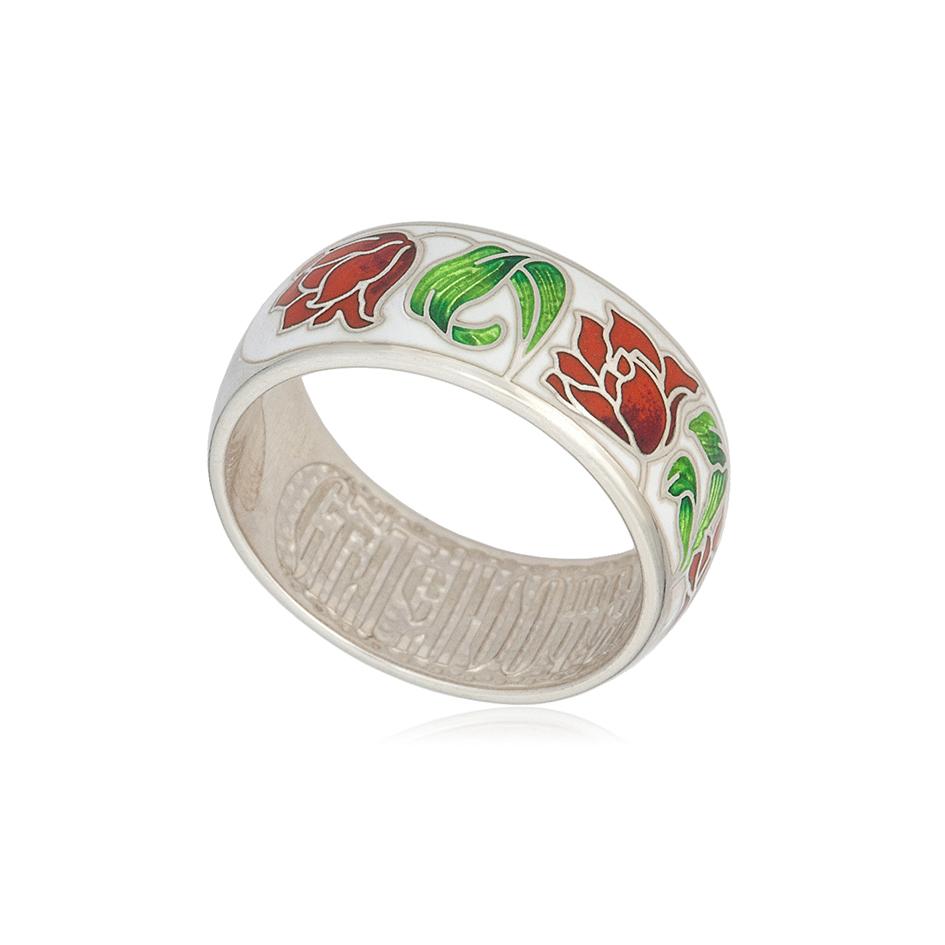 61 136 3s 1 - Кольцо серебряное «Тюльпаны», красно-белое