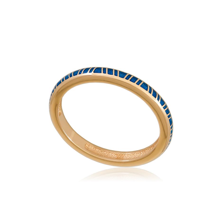 61 153 1z 1 - Кольцо из серебра «Принцесса на горошине» (золочение), синее