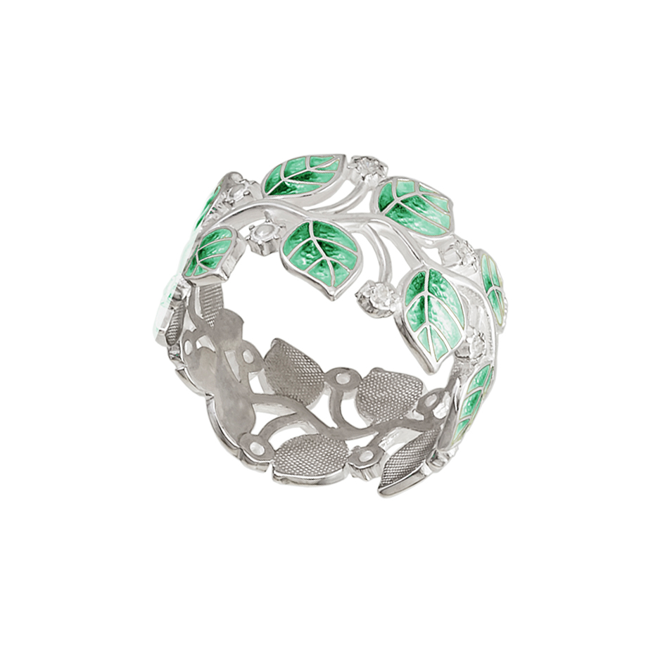 6 39 1s 2 - Кольцо серебряное «Мелисса», зеленое с фианитами