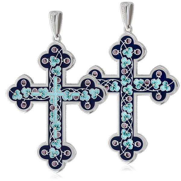 Нательный крест, голубой