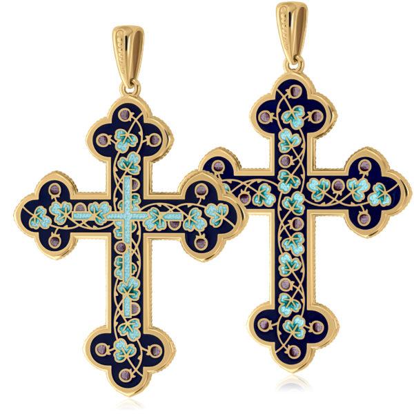 Нательный крест (золочение), голубой